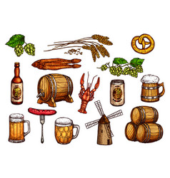 sketch icons set of beer snacks and brewery vector image