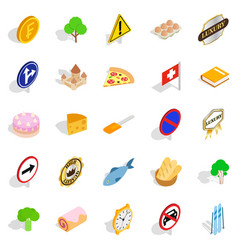swiss icons set isometric style vector image vector image