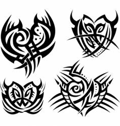 tribal hearts and shields vector image vector image