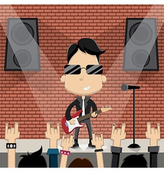 young guy playing guitar on stage vector image vector image
