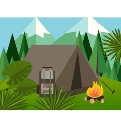 camp forest mountain flat background vector image