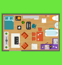 detailed rooms furniture overhead top view vector image
