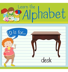 Flashcard letter D is for desk vector image
