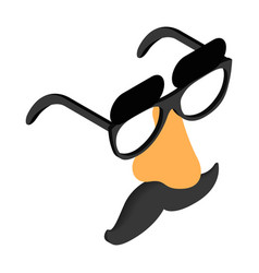 Funny disguise mask with glasses fake nose vector image