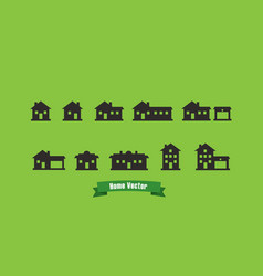 Home silhouette icons with text ribbon and green vector
