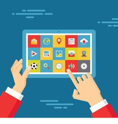 Human Hands with Tablet and Icons Set vector image vector image
