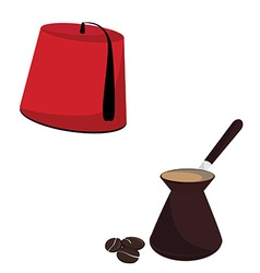 Turkish hat and coffee pot vector image vector image