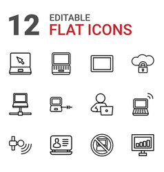 12 laptop icons vector