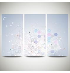Abstract flyers set molecular design vector