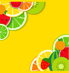 Abstract mixed flat fruit background vector