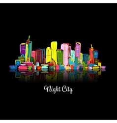 Abstract night cityscape sketch for your design vector