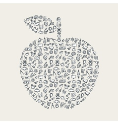 An apple with education elements vector