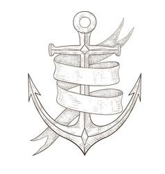 anchor and ribbon banner hand drawn sketch vector image