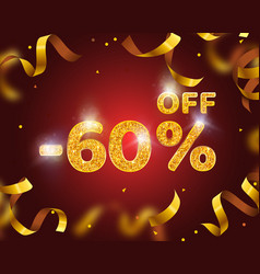 banner 60 off with share discount percentage gold vector image