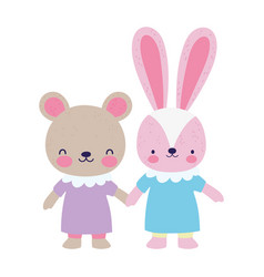 bashower female bear and rabbit with dress vector image