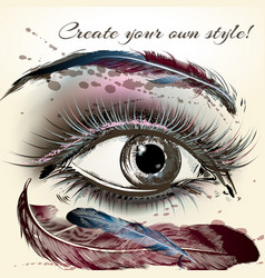 Beautiful female eye with make up hand painted vector