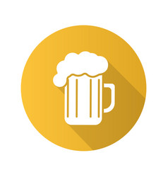 Beer glass flat design long shadow icon vector
