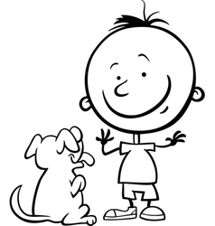 boy with dog cartoon coloring page vector image