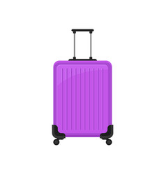 bright purple polycarbonate suitcase on spinner vector image
