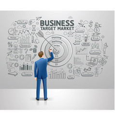 businessman drawing business idea target market vector image