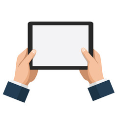 businessman hold tablet with empty white screen vector image