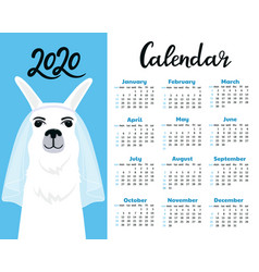 Calendar for 2020 from sunday to saturday cute vector