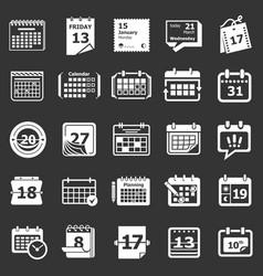 calendar schedule planner icons set grey vector image