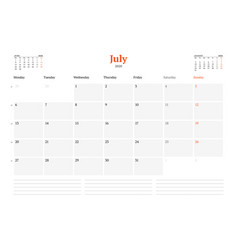 Calendar template for july 2020 business monthly vector