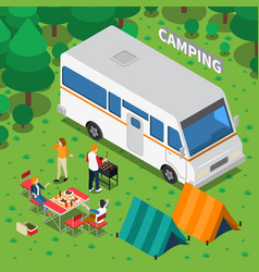 camping isometric composition vector image