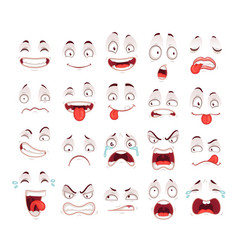 cartoon faces happy excited smile laughing vector image