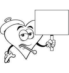 cartoon sick heart holding a sign vector image