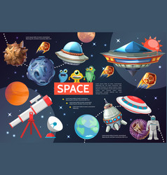 cartoon space elements collection vector image