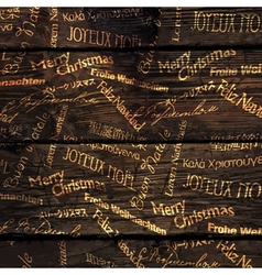 Christmas words pattern wooden vector