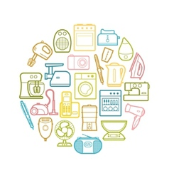 Circle set contour home appliances icons vector