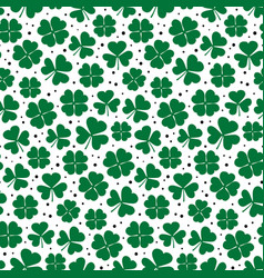 clover leaves seamless pattern green shamrock vector image