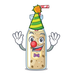 clown sweet banana smoothie isolated on mascot vector image