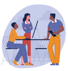 colleagues talking to each other in modern office vector image