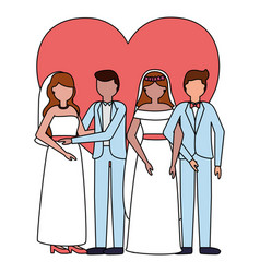 Couples wedding brides and grooms vector