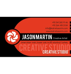 Creative orange business card vector