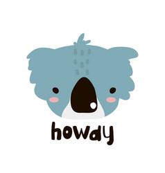 cute coala face childish print for nursery kids vector image