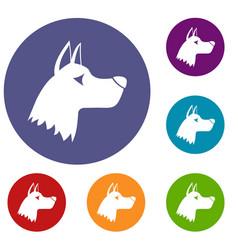 Doberman dog icons set vector