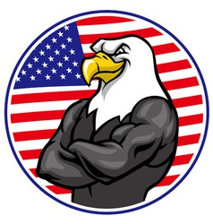 Eagle mascot show muscle with american flag vector