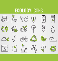 Ecology icons set icons for renewable energy vector