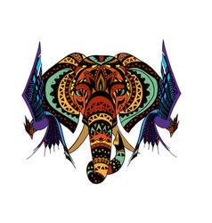 elephant with birds in ornamental style vector image