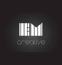 Em e m letter logo design with white and black vector