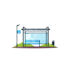 empty bus station semi flat rgb color vector image
