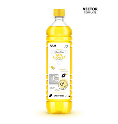 Extra virgin sunflower oil canned plastic bottle vector