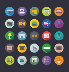 flat icons collection of furniture vector image
