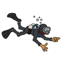 Funny diver in a black neoprene vector