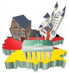 German tourist attractions vector